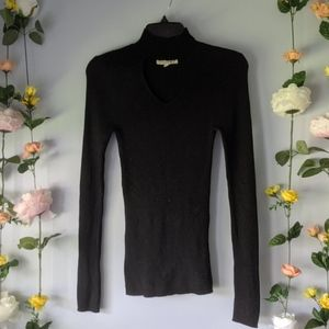 Black Cutout Half Turtleneck